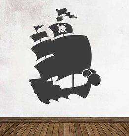 Black board Fantasy Pirate ship Sticker