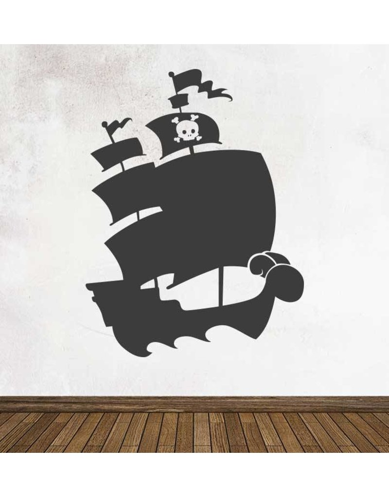 Black board Fantasy Pirate ship Sticker