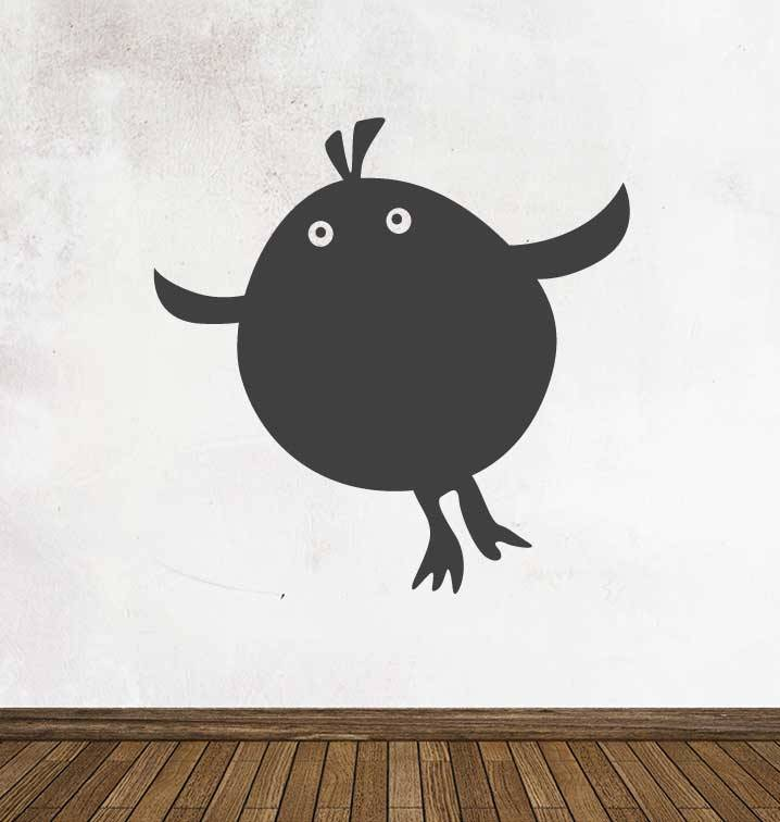 Black board Cartoon Animal bird Sticker