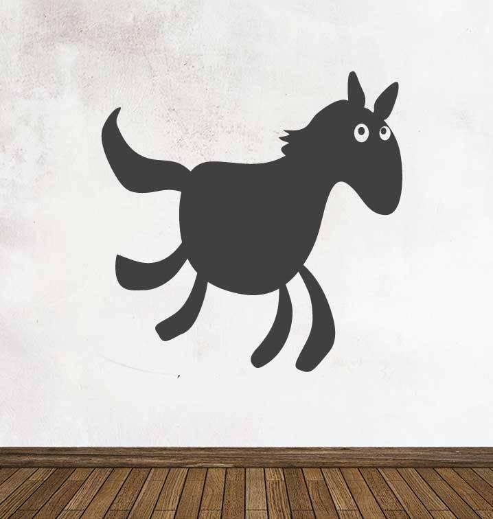 Autocollant tableau noir Cartoon Animaux Cheval