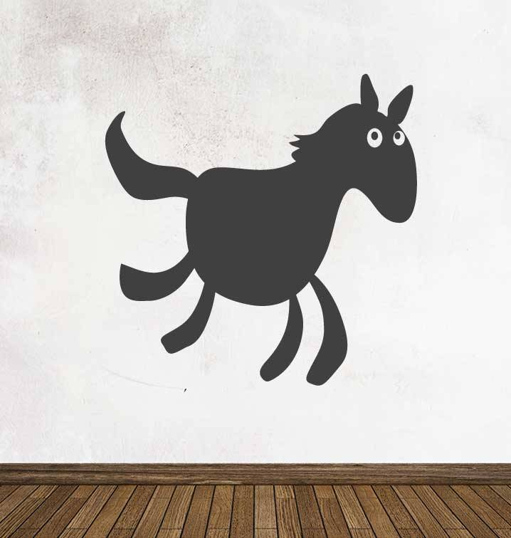 Black board Cartoon Animal Horse Sticker