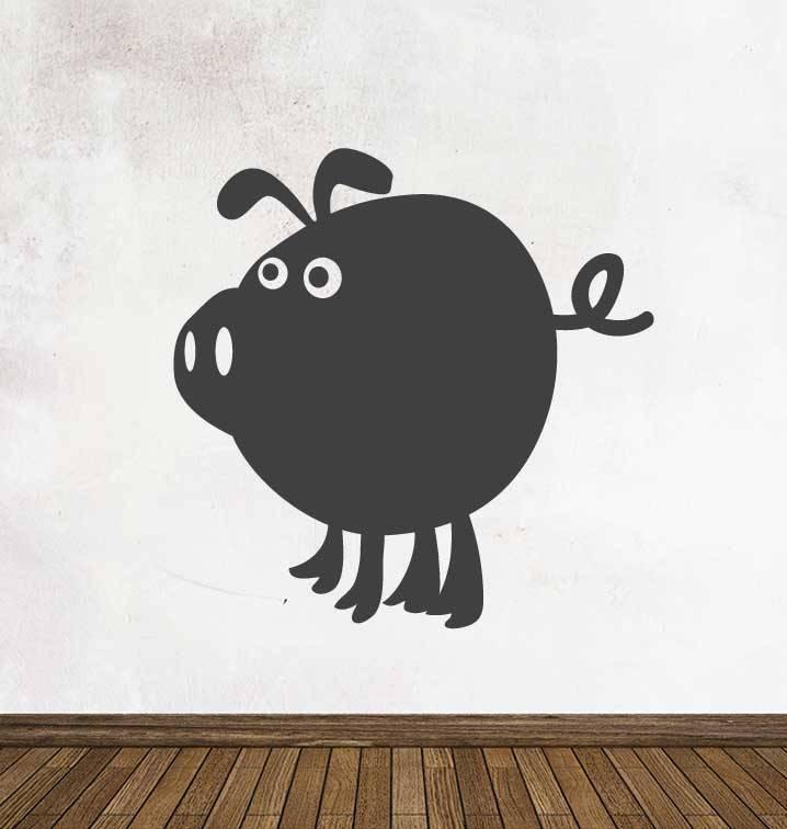 Black board Cartoon Animal Pig Sticker