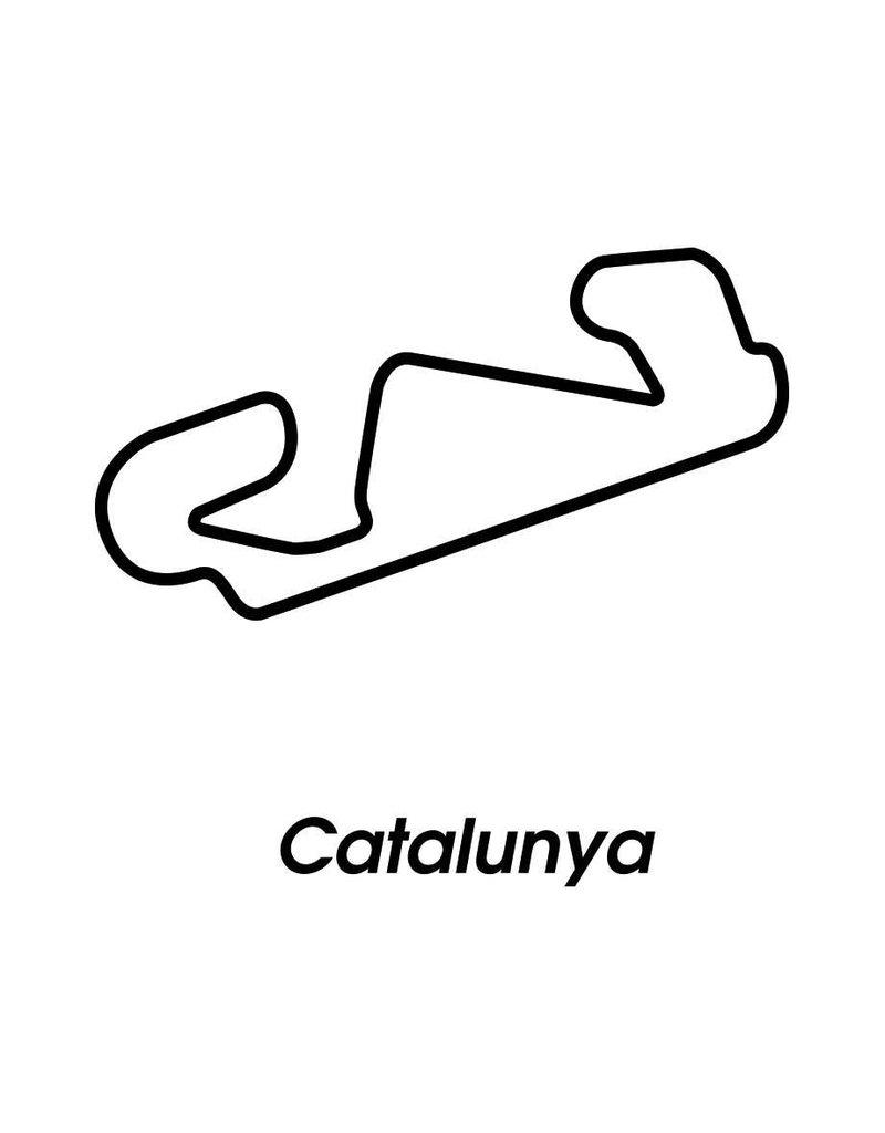 Rennstrecke Catalunya schwarz weiß