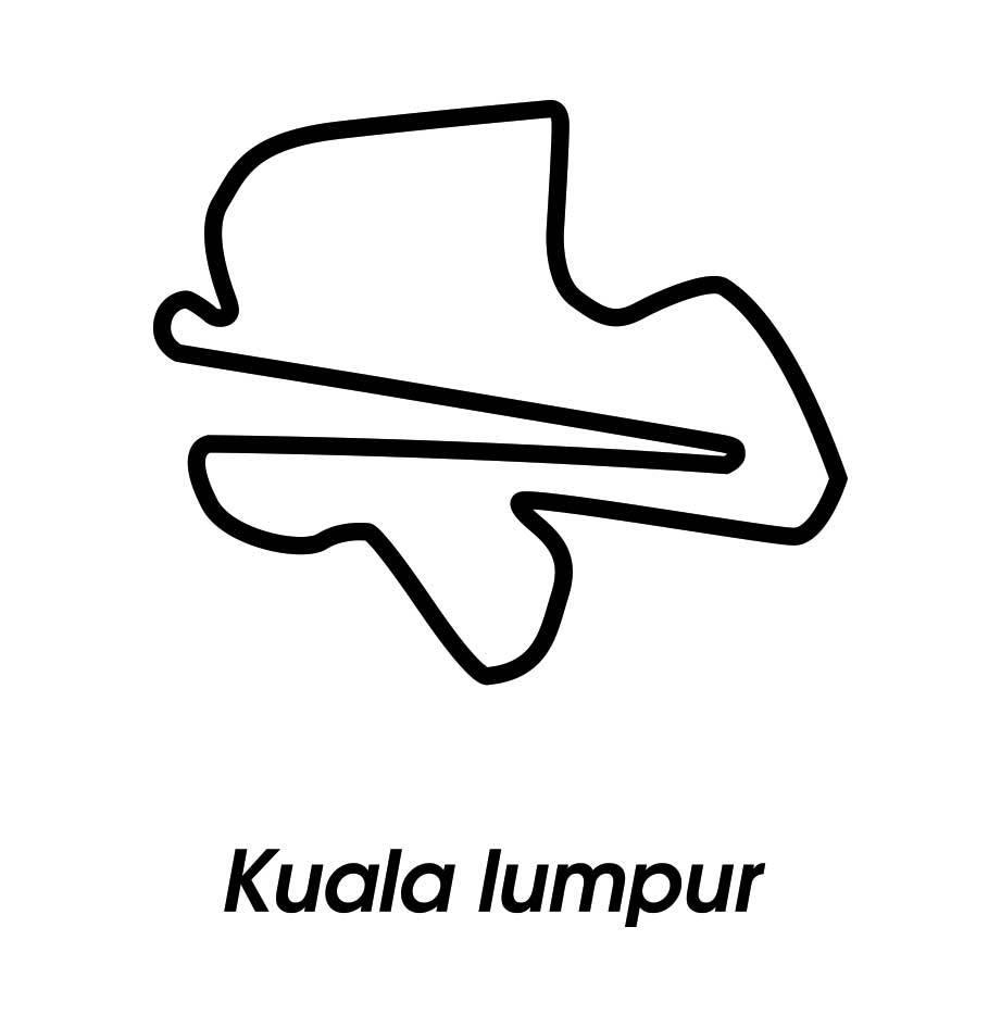 Rennstrecke Kuala Lumpur schwarz weiß