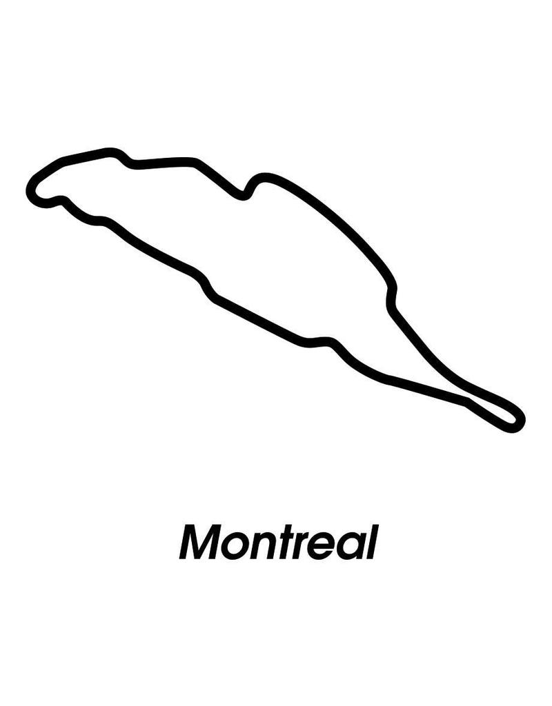 Rennstrecke Montreal schwarz weiß