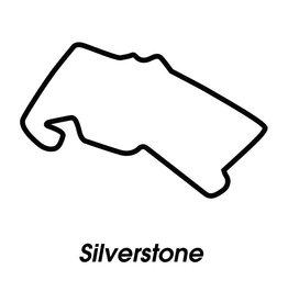 Race circuit Silverstone zwart wit