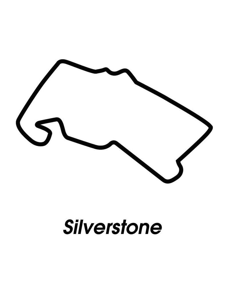 Circuit de course Silverstone noir blanc