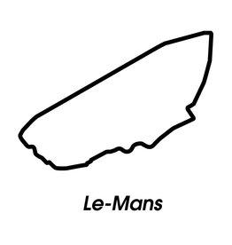 Rennstrecke Le-Mans schwarz weiß
