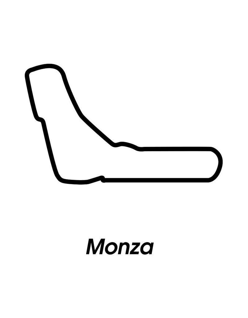 Rennstrecke Monza schwarz weiß