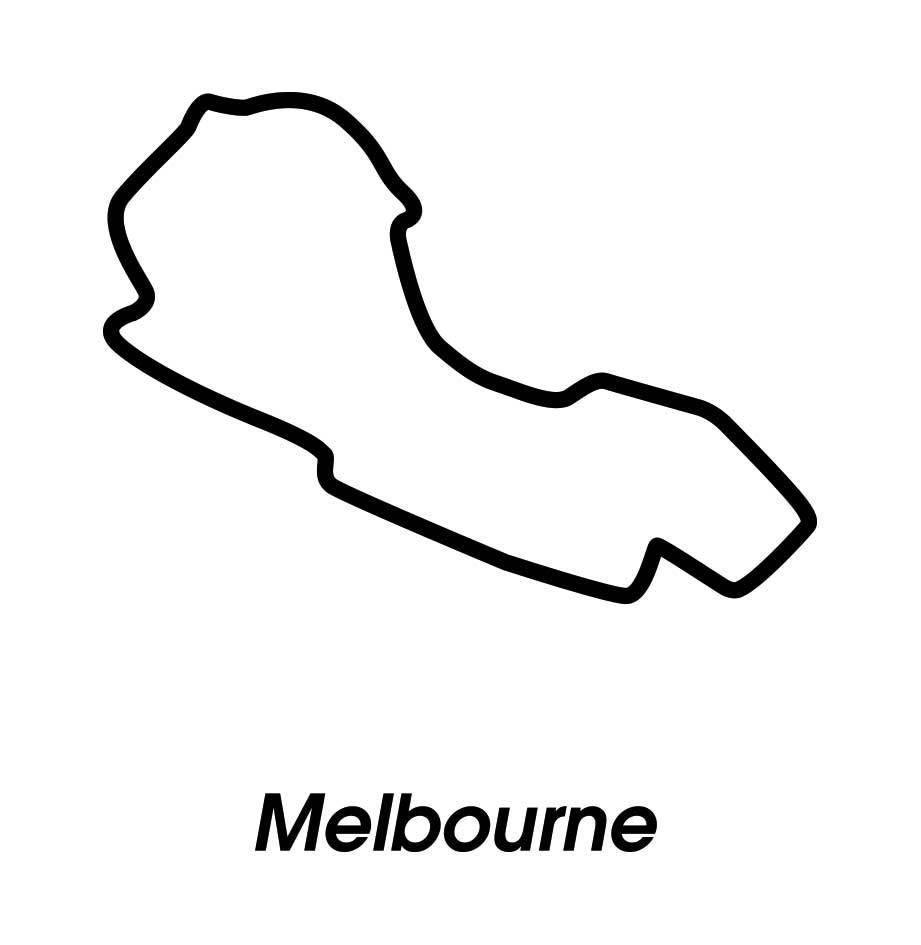 Rennstrecke Melbourne schwarz weiß