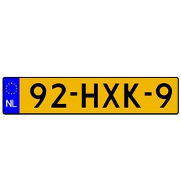 Niederländisch Registrierung Aufkleber (Originalformat)