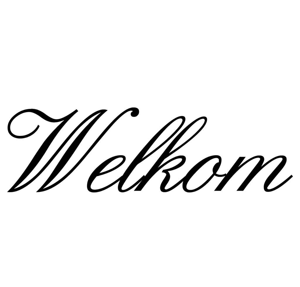 Texte néerlandais:  ''Welkom'' lettres adhésives