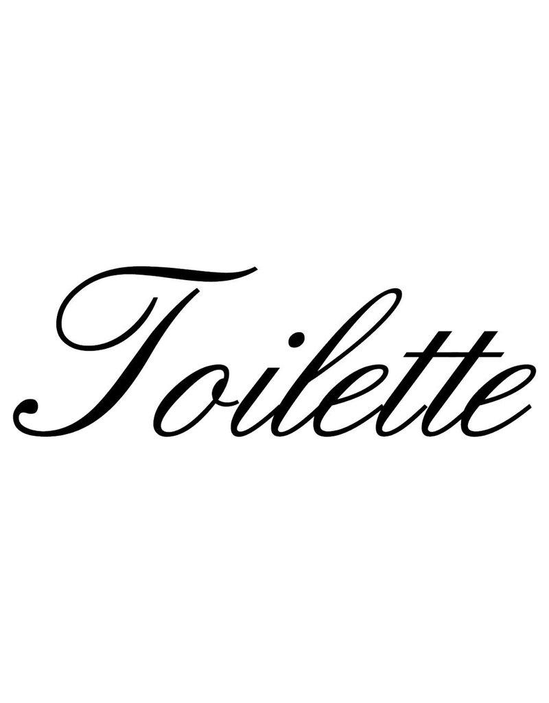 Texte français: ''Toilette'' lettres adhésives
