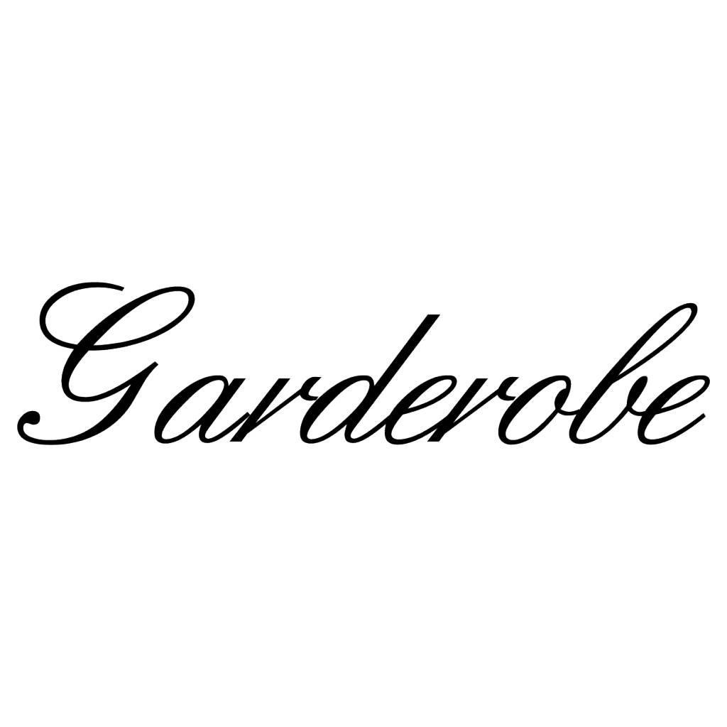 Texte français: ''Garderobe'' lettres adhésives