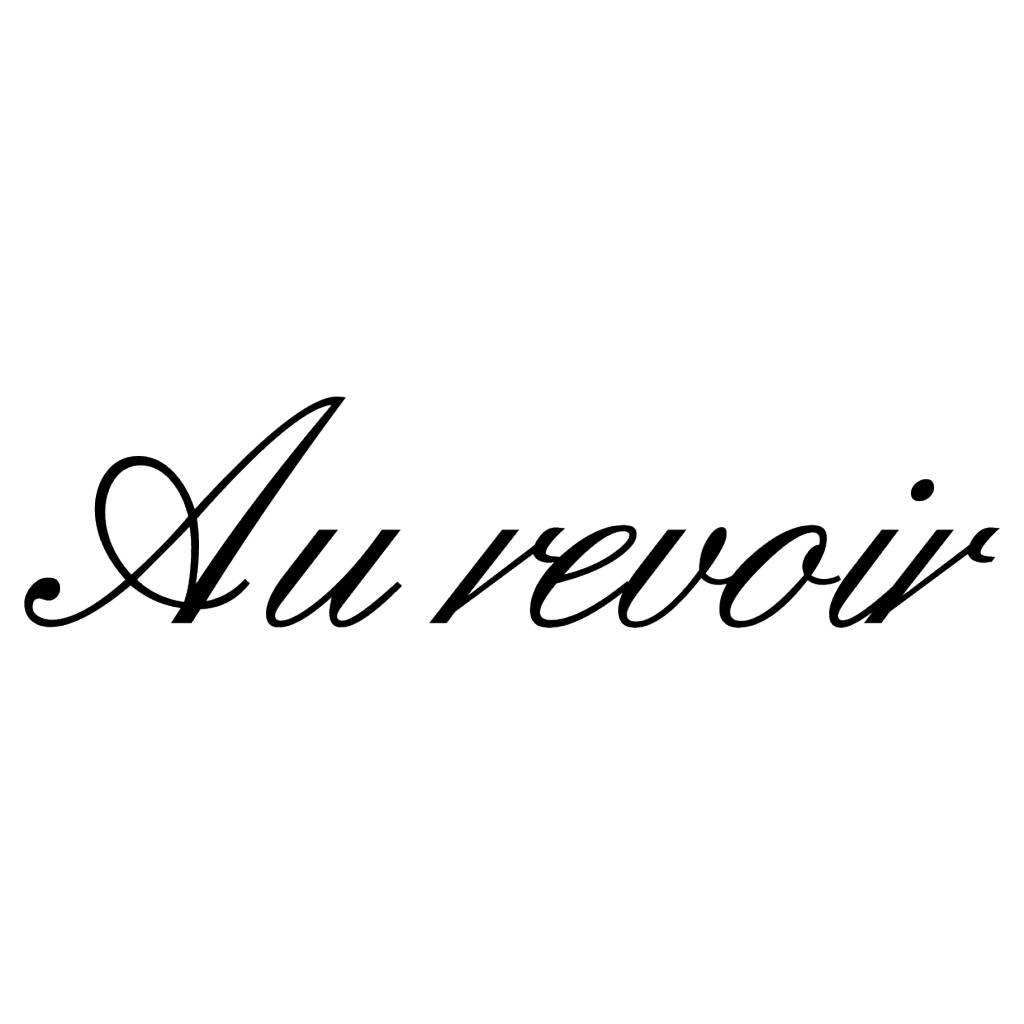 Texte français: ''Au revoir'' lettres adhésives