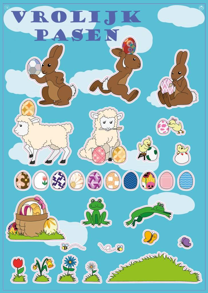 Vrolijk Pasen Stickervel