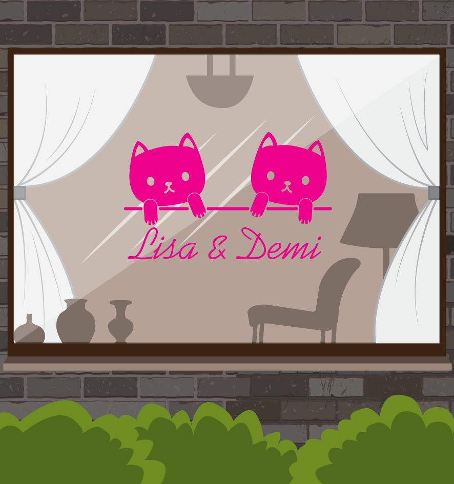 Birth window sticker -Tweeling pussies