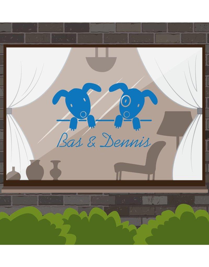 Birth window sticker -Tweeling dogs