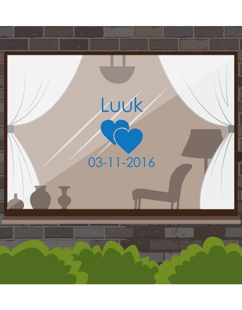 Birth window sticker - Hearts with date