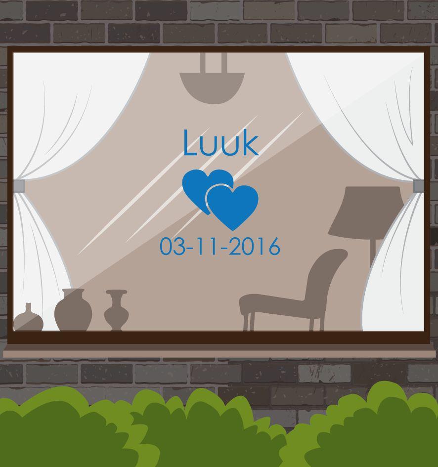 Birth Fensteraufkleber - Herzen mit Datum