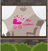 Nacimiento etiqueta de la ventana - Carrito de bebé con el corazón