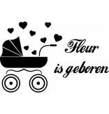 fenêtre Naissance autocollant - Baby Cart avec des coeurs