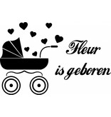 Geboorte raamsticker - Kinderwagentje met hartjes