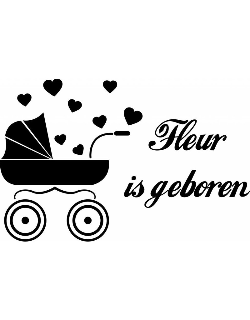 Birth Fensteraufkleber - Baby Wagen mit Herzen