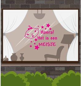 Nacimiento etiqueta de la ventana - Hooray! Es una niña