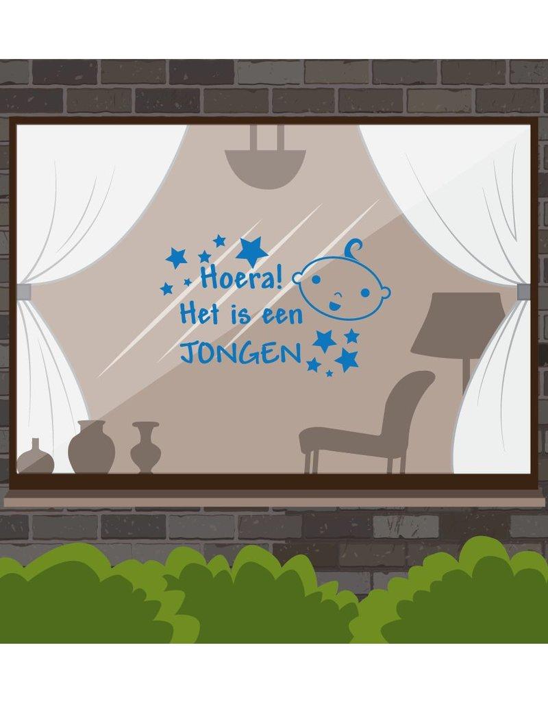 Nacimiento -Hoera etiqueta de la ventana! Es un niño