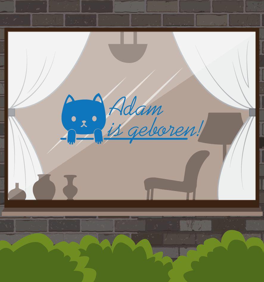Birth Fensteraufkleber - Kitten Name