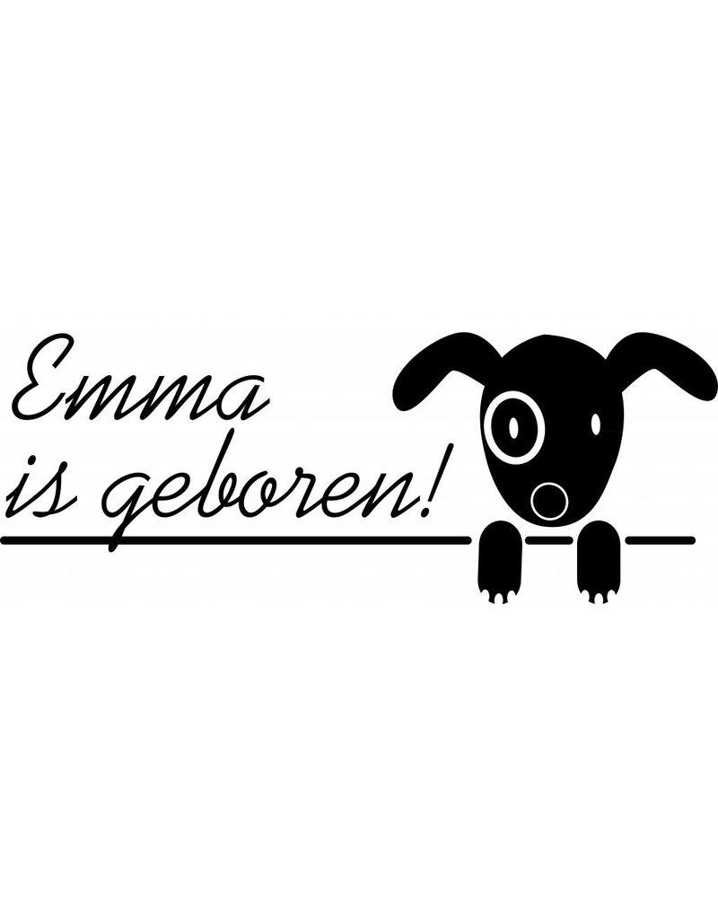 Geboorte raamsticker - Hondje met naam