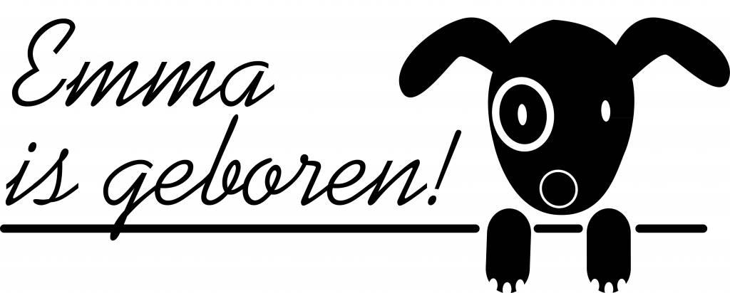 Birth window sticker - Doggy with name