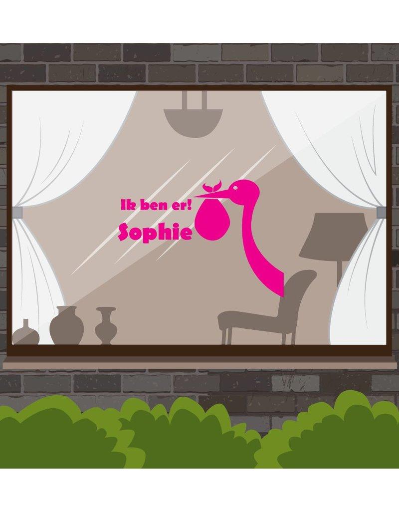 etiqueta de la ventana del nacimiento - Cigüeña con el nombre