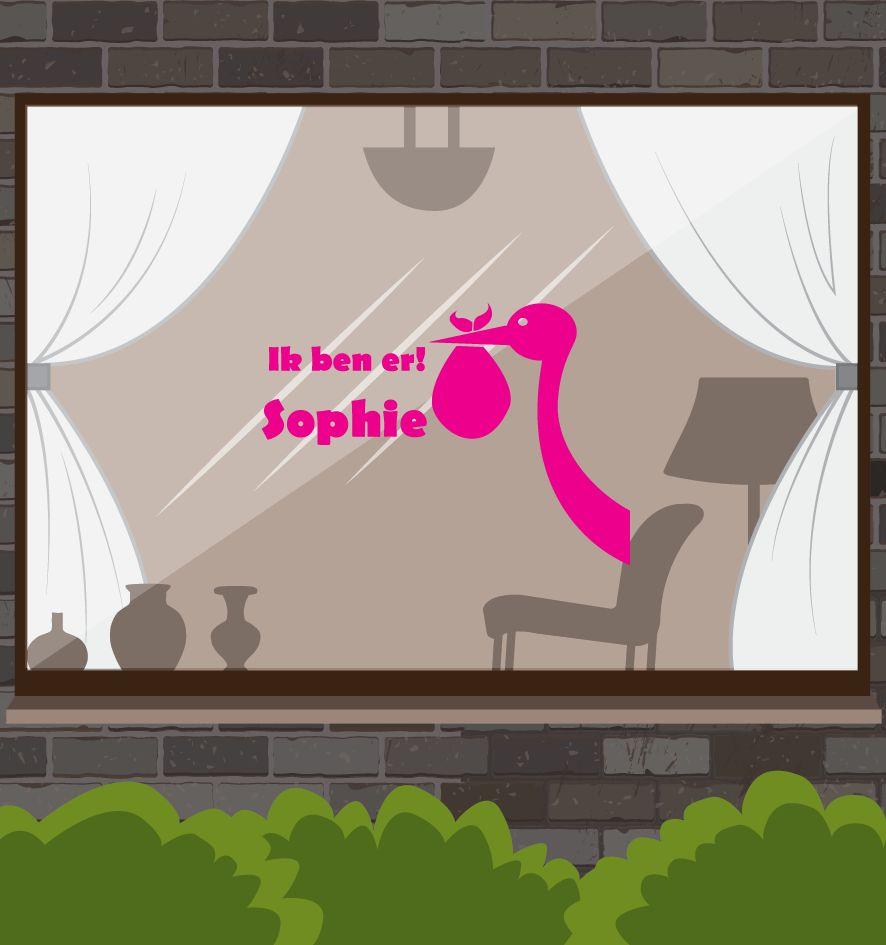 autocollant de la fenêtre de naissance - Stork avec le nom