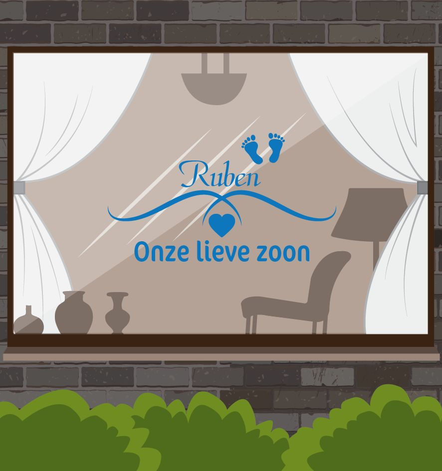 Birth window sticker - Our dear son by name
