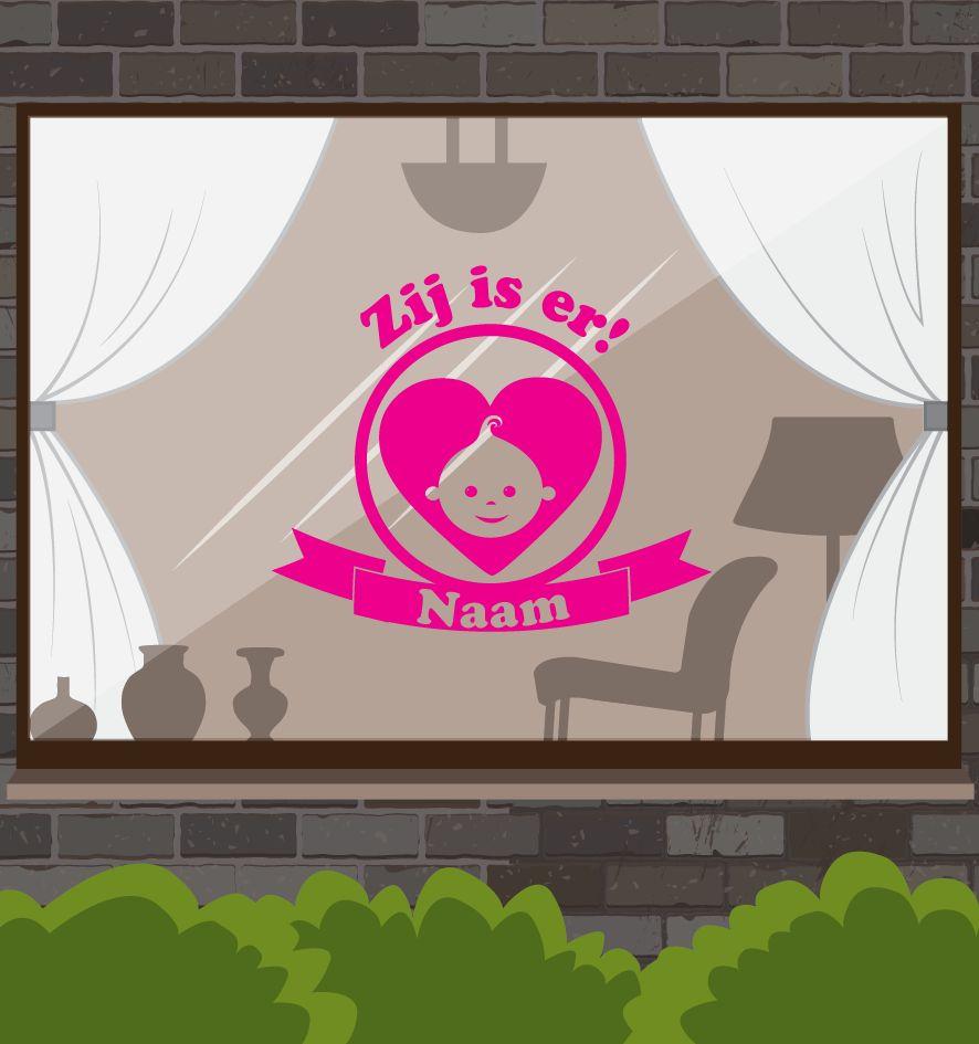 fenêtre Naissance autocollant - Il est là!