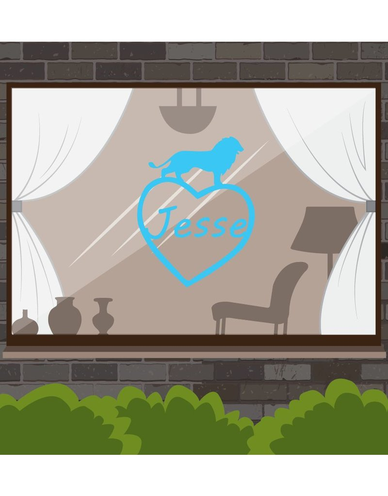 Heart with Lion Blue Sticker