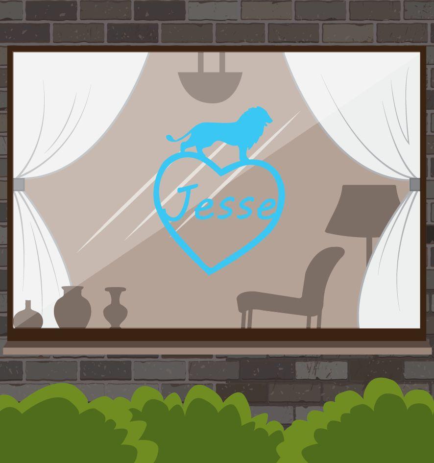 Herz mit blauem Löwen Sticker