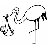 Geboortesticker - Ooievaar met een baby