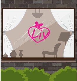 Herz mit rosafarbenem Schmetterling Sticker