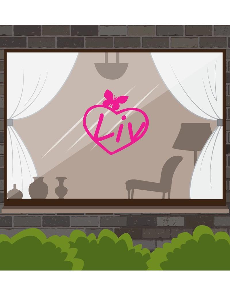 Cœur avec papillon rose autocollant