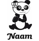 Geboortesticker - Pandabeertje met strikje en naam