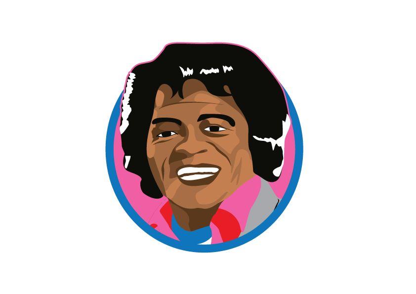 círculo etiqueta de la pared de James Brown
