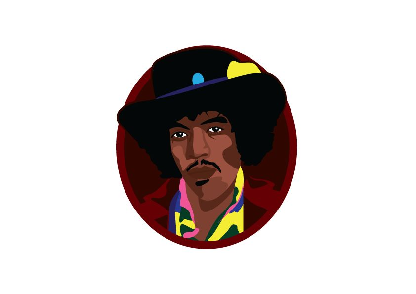 Muursticker Jimmy Hendrix cirkel