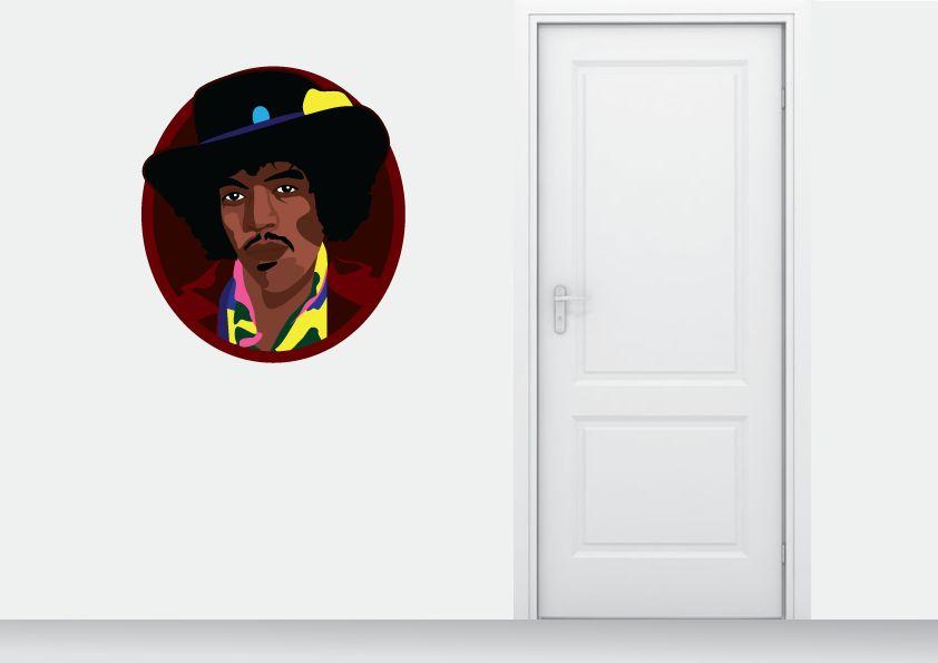 Wall Sticker Jimmy Hendrix circle