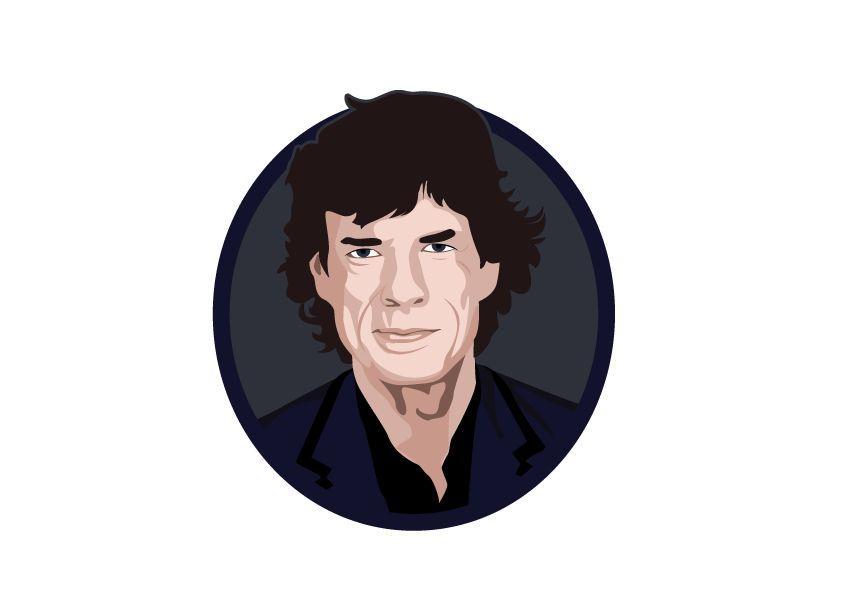 Muursticker Mick Jagger cirkel