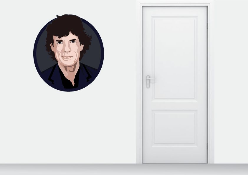Autocollant Mural Mick Jagger cercle