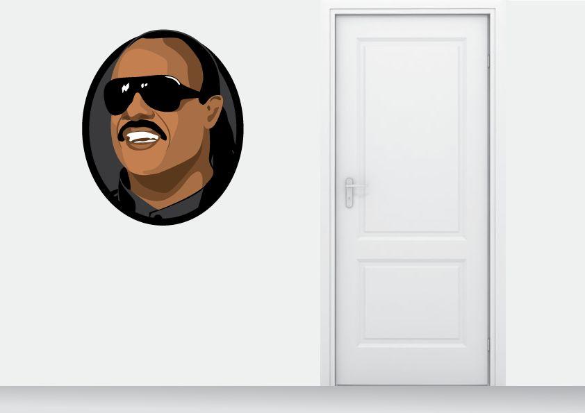 Autocollant Mural Stevie Wonder cercle