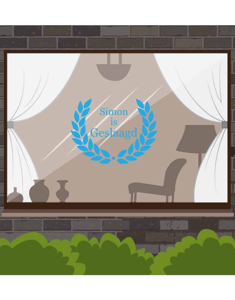 Etiqueta de la ventana éxito - Corona con el nombre, en